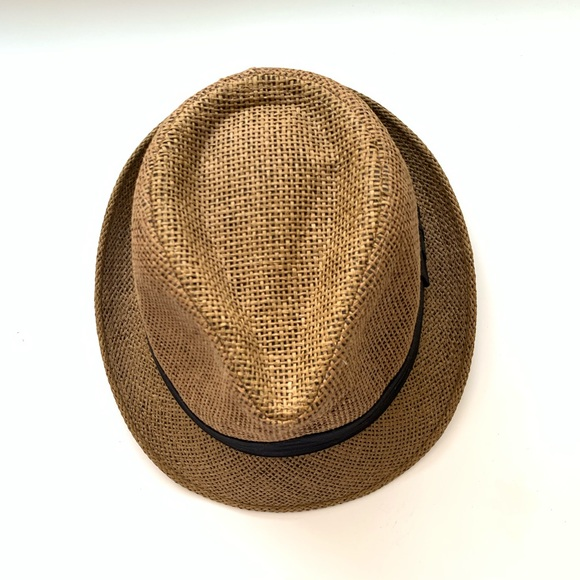 Accessories - Straw Fedora Hat Tan With Black